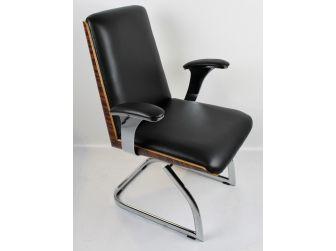 Black Leather Chair with Walnut Veneer Shell - CHA-1205C