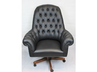 Quality Black Natural Hide Chesterfield Office Chair