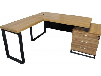 Executive Modern Teak Wood  finish L shape Office Desk - T06-TW- 1850mm