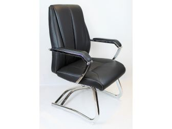 Executive Black Leather Visitors Chair - ZV-B621