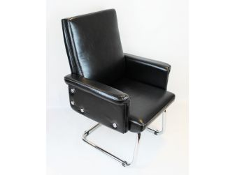 Modern Black Leather Visitors Chair - DH-068-2
