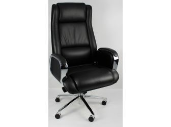 Black Leather Executive Office Chair with Chrome Trimmed Arms - J1201