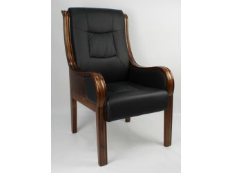 Black Leather Executive Visitors Chair with Wooden Frame - F53C