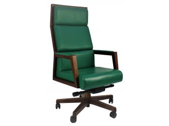A1601 - Designer Chair in Italian Green Leather & Solid Ash Wood Frame