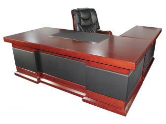 2.4m Executive Corner Desk Mahogany Real Wood and Leather HB274M