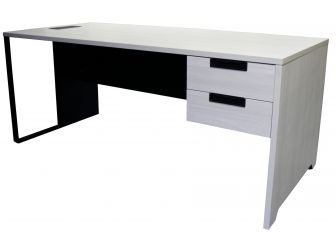 Modern Office Desk with Integrated Drawers in White Ash - DC-1406