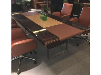 Real Walnut Gloss Conference Table with Maple Panel - 0988C