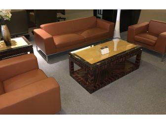 Executive Meeting/Reception Room Sofa - Tan Leather - 1132