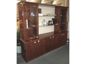 Walnut Veneered Bookcase with White Leather Panel - 6875A