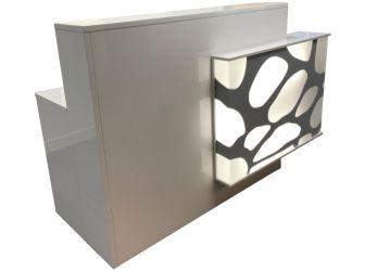 Light Up Reception Desk High Gloss White RE1302