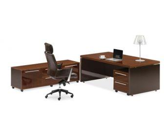 Walnut and Chocolate Modern Stepped Design Executive Desk Set JRE201