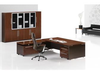 Modern Executive Desk in Walnut with Chocolate Brown Panels JRE242-2400MM