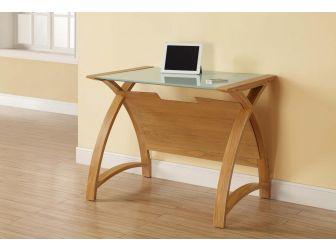 Compact Glass Office Desk Oak Frame PC201-LT-900-OW