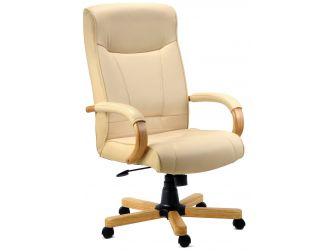 Cream Leather Faced Executive Chair - KNIGHTSBRIDGE
