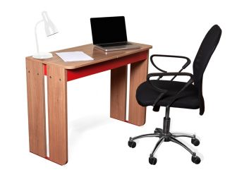 Alphason Cadiz Computer Desk Sapele & Red Melamine