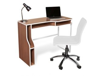 Alphason Valencia Computer Desk Walnut Melamine