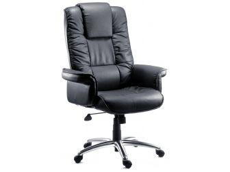 Black Leather Faced Executive Armchair LOMBARD