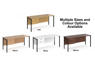 Maestro 600mm Deep Straight H Office Desk with Two Drawer Pedestal