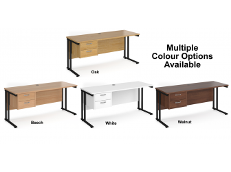 Maestro 600mm Deep Straight Cantilever Leg Office Desk with Two Drawer Pedestal