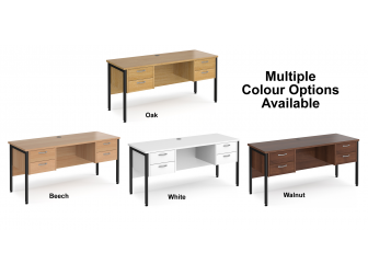 Maestro 600mm Deep Straight H Office Desk with Two and Two Drawer Pedestal