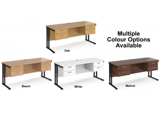 Maestro 600mm Deep Straight Cantilever Leg Office Desk with Two and Two Drawer Pedestal