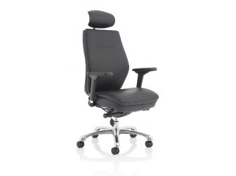 Dynamic Domino Black Leather Posture Office Chair