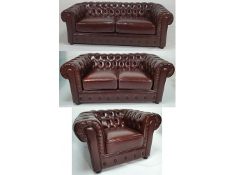 Chesterfield Antique Brown Genuine Leather Sofa Set - S073