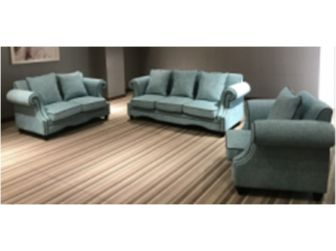 Sea Green Fabric Three Piece Sofa Suite - S098