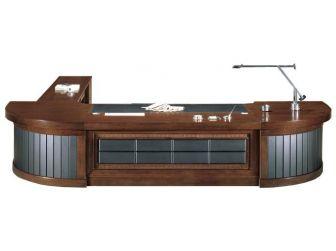 High End Luxurious Executive Desk Leather Detail RIZ-DSK-U88333-3300 / 4200mm