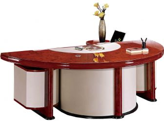 Executive Desk Unique Curved Design CHO-6834 WALNUT & WHITE