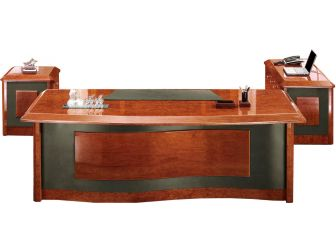 Italian Design Luxury Executive Desk With Wave Design top in High lacquered Walnut wood & Leather  IVA-10811-2400mm