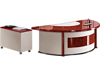 Italian Design High Laquer  Walnut Veneer Executive Desk With Semi-Circle Design MOZ-6833-2400mm optional Leather Colours available