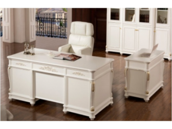 Traditional Luxury White Executive Office Desk with Built in Storage - 0819