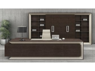 3.2m Luxury Executive Office Desk Chocolate Walnut and Leather GRA-06T321