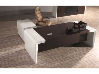 Prosparae T1381-2.2 Gloss White Executive Desk with Return & Pedestal