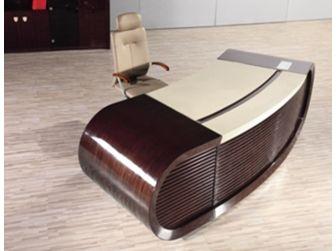 High Gloss Walnut Real Wood Veneer Executive Desk - 3200mm - T1383