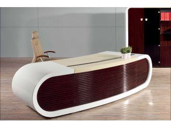 High Gloss White Executive Desk - 3200mm - T1383