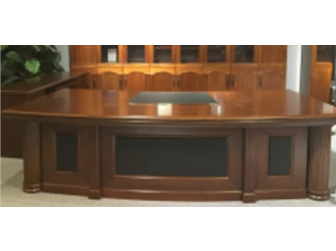 Large Walnut Executive Office Desk Real Wood Veneer and Black Leather DSK-2803-WB 2.8m