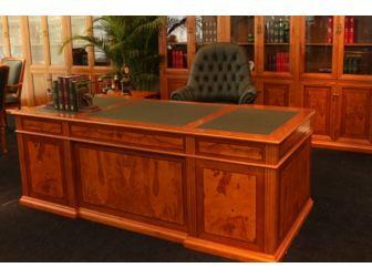 Executive Wood Veneer Dark Cherry Desk With Yew Inlaid Panelling - DES-0806-2000mm