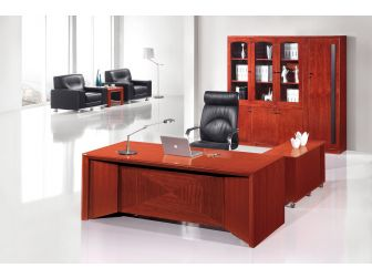 Quality 2.0m Mahogany Executive Office Desk With Angular Design DES-0936