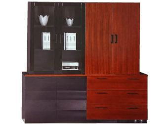 Mahogany Luxury Bookcase 4 Doors Wide DES-0969A