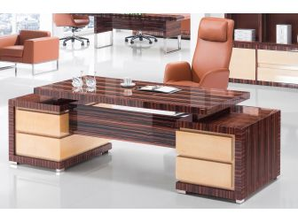 Stunning Real Wood mixed walnut veneer high gloss  Executive Office Desk - 0988-2400mm