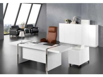 2.4m Wide Large Gloss White Executive Office Desk with Drawer Pedestal and Side Return DES-0991