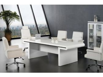 Luxury 2.4m Gloss White Executive Boardroom Meeting Room Table - 0992C