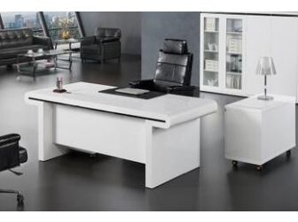 2m Wide Large Gloss White Executive Office Desk with Drawer Pedestal and Side Return DES-0992