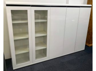 Extra Large White Gloss Executive 5 Door Bookcase Display Unit 0992T