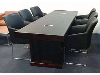 Executive Boardroom Meeting Room Table Walnut and Black Leather MET-C1299