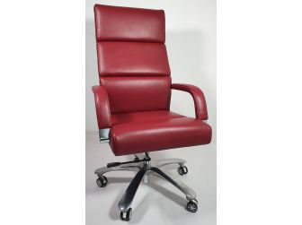 Burgundy Leather Chrome frame Deep Padded Executive Office Chair HB1817-BUR