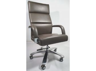 Grey Leather Chrome frame Deep Padded Executive Office Chair HB1817-G