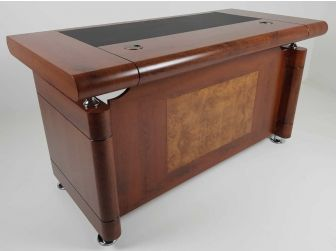 1861 1.4m Medium Oak Executive Office desk with drawer pedestal